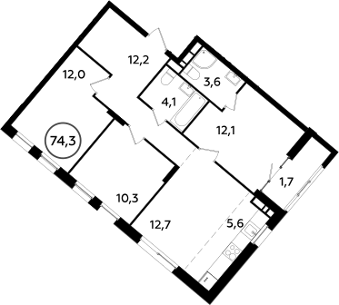4Е-комнатная, 74.3 м²– 2