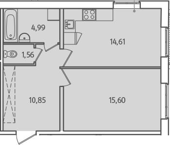 1-комнатная, 47.61 м²– 2