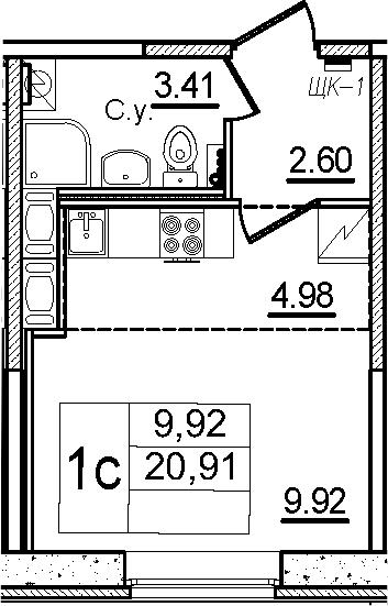Студия, 20.91 м²