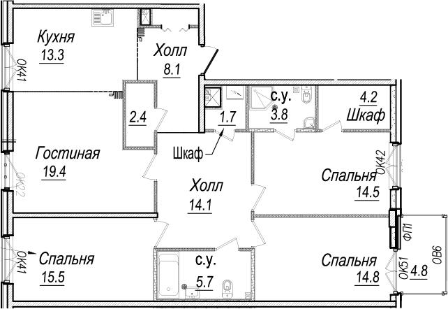 4-к.кв, 122.26 м²