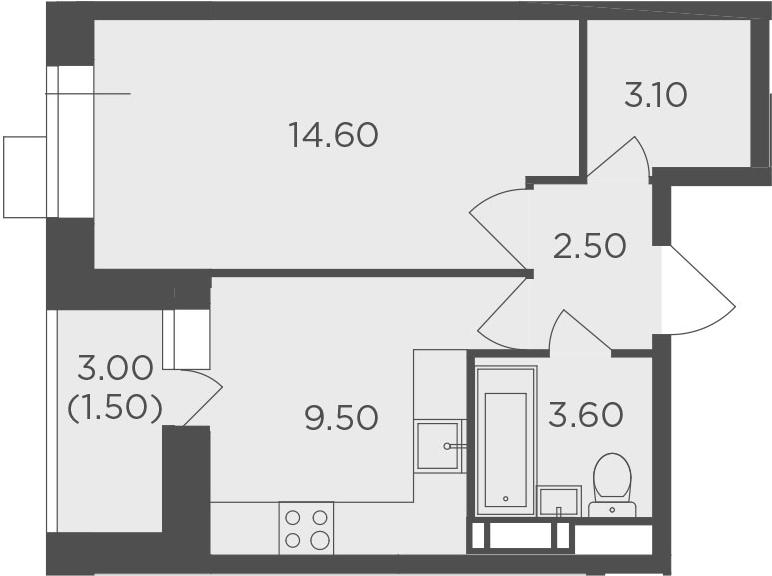 1-к.кв, 34.8 м², от 2 этажа
