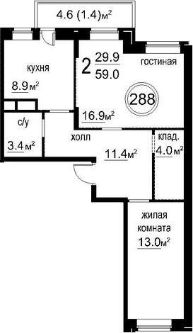 2-к.кв, 62.27 м²