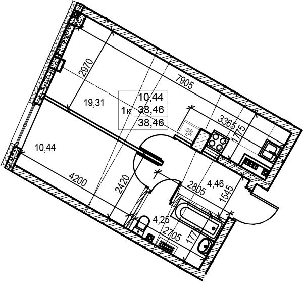 2Е-комнатная, 38.46 м²– 2
