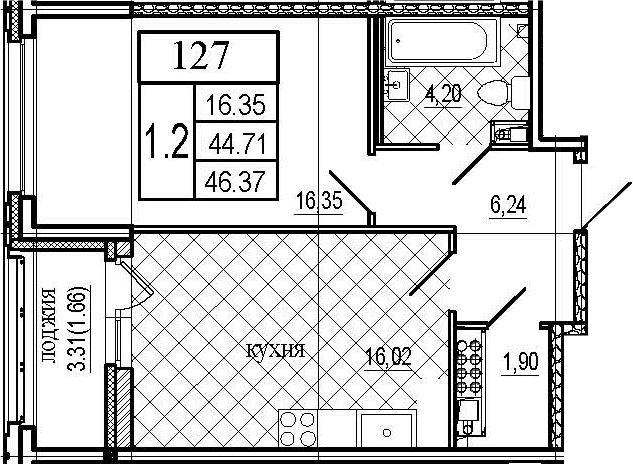 2Е-комнатная, 46.37 м²– 2