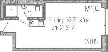 Студия, 32.21 м²– 2