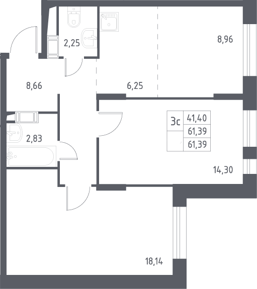 3Е-комнатная, 61.39 м²– 2