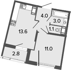 2Е-комнатная, 32.7 м²– 2