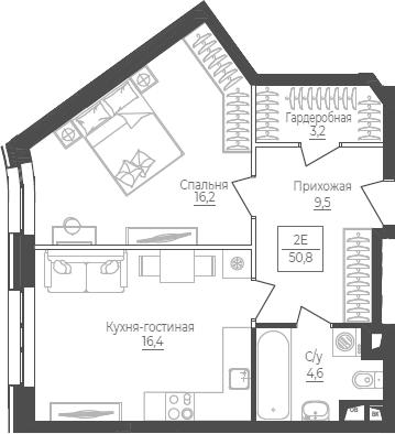 2Е-комнатная, 50.8 м²– 2
