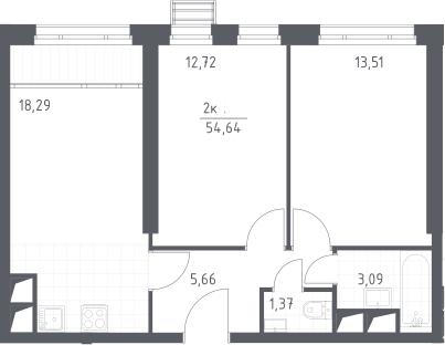 3Е-комнатная, 54.64 м²– 2