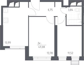 2-к.кв, 49.88 м²