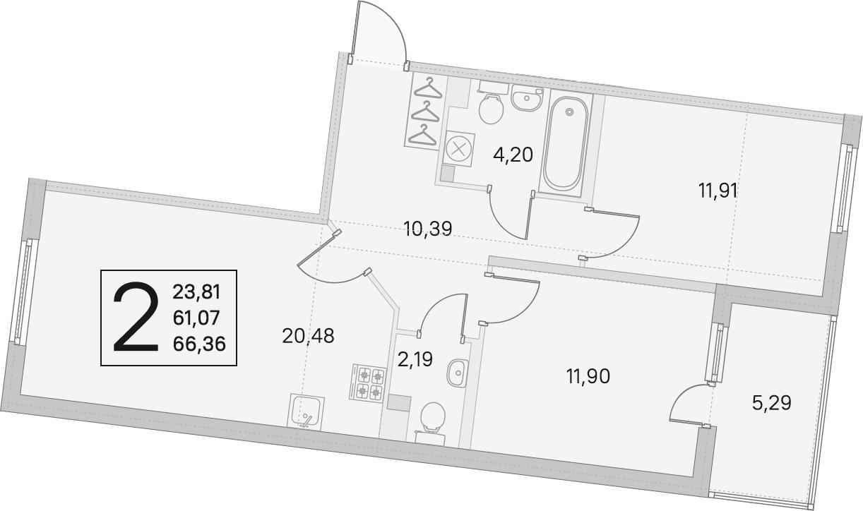 3Е-комнатная, 61.07 м²– 2