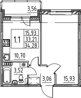 1-к.кв, 33.21 м², 3 этаж