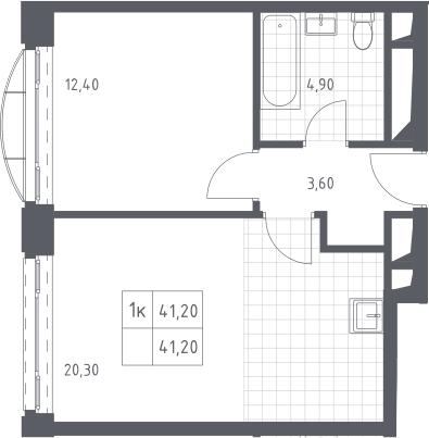 2Е-к.кв, 41.2 м², 18 этаж