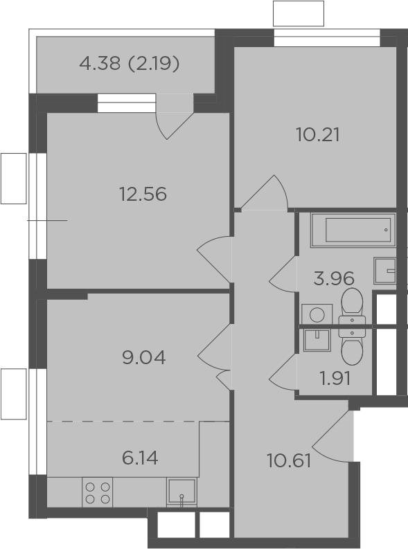 3Е-комнатная, 56.62 м²– 2