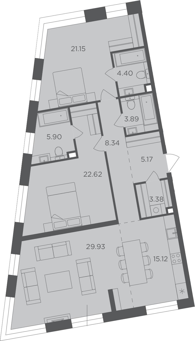 3-комнатная, 119.9 м²– 2