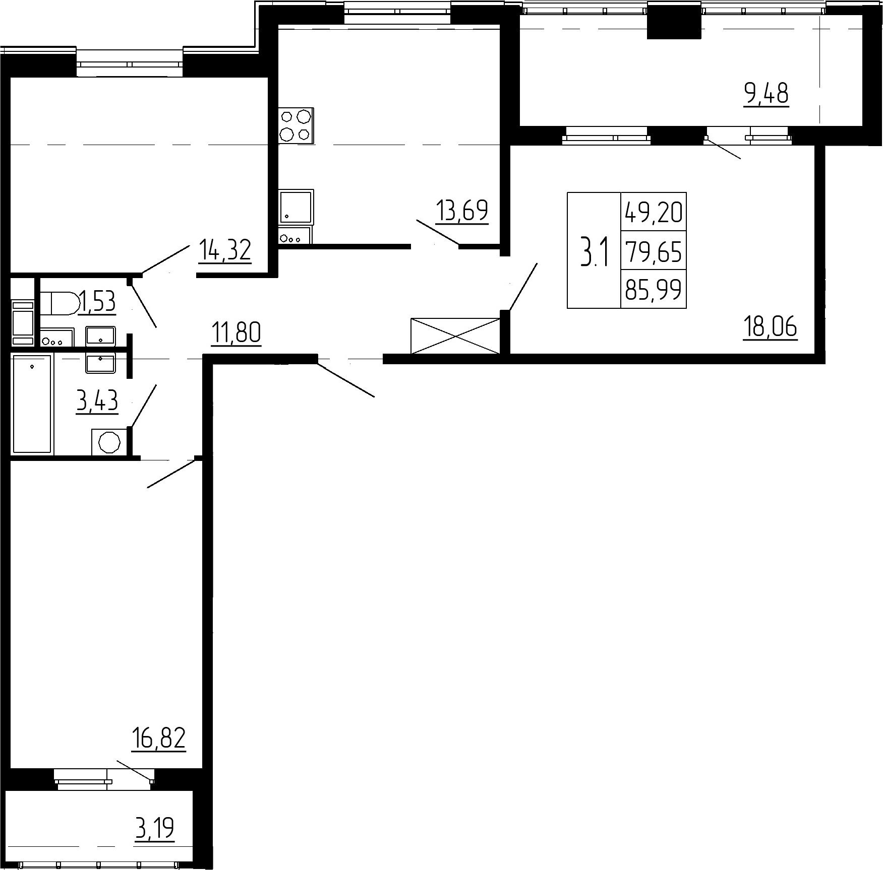 3-к.кв, 79.65 м²