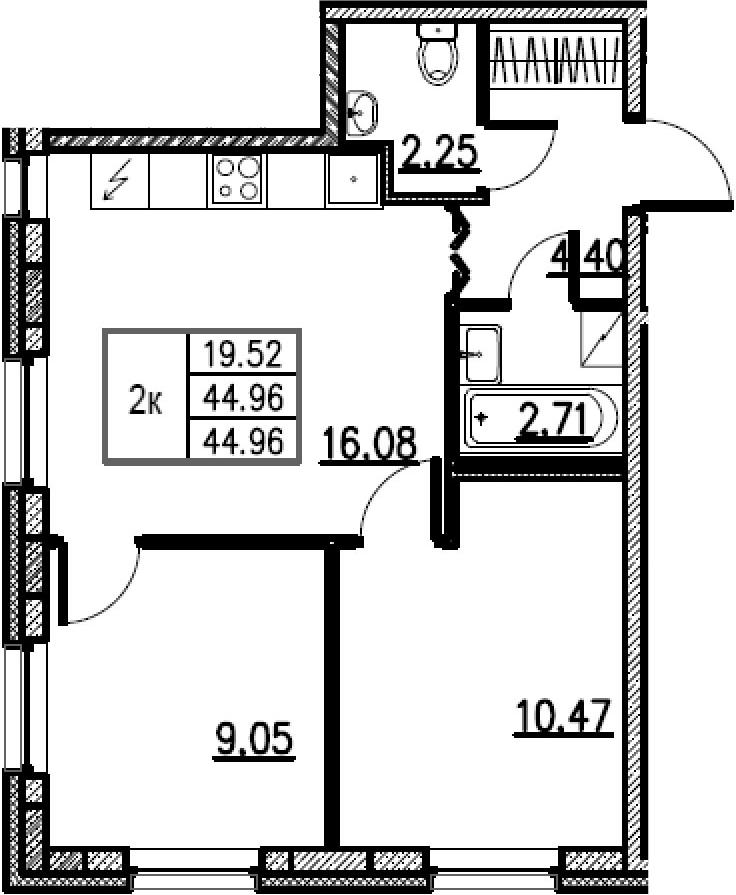 3-к.кв (евро), 44.96 м²