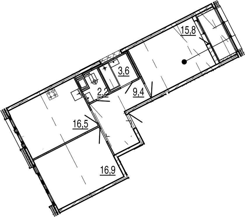 3Е-к.кв, 66.3 м², 7 этаж