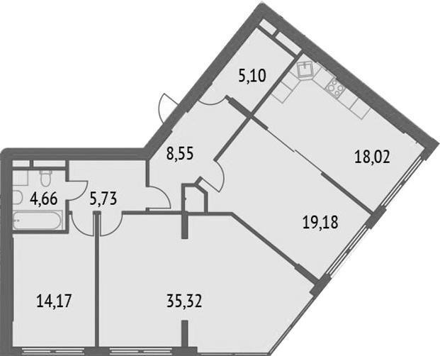 4Е-комнатная, 110.73 м²– 2