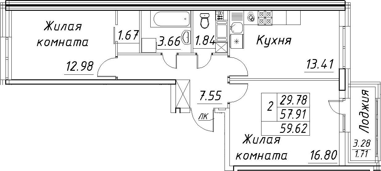 2-к.кв, 59.62 м²