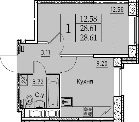 1-комнатная, 28.61 м²– 2