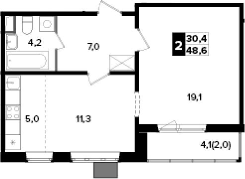 2Е-к.кв, 48.6 м², от 11 этажа