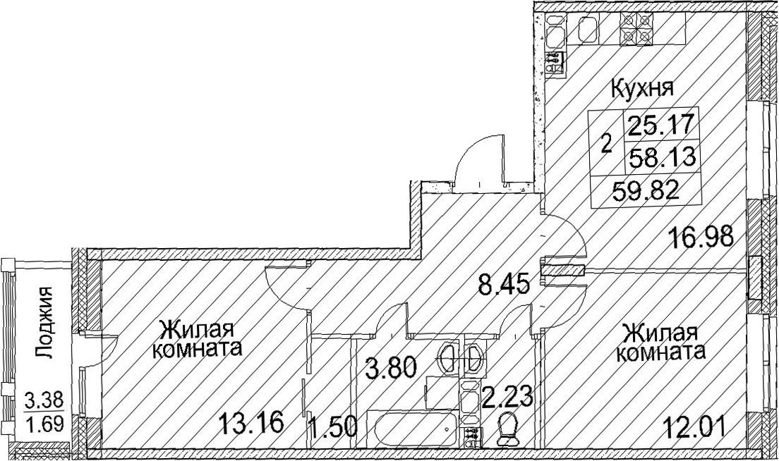 3-к.кв (евро), 61.51 м²