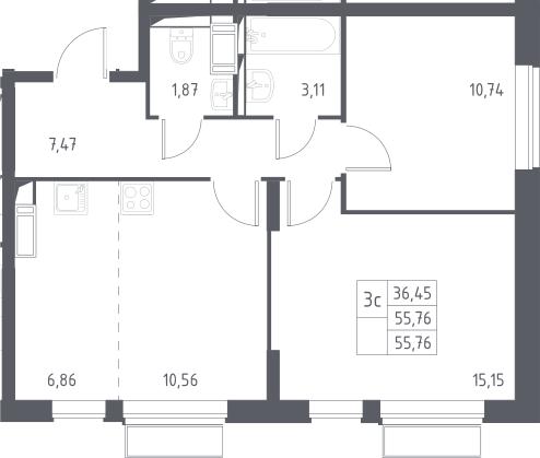 3Е-к.кв, 55.76 м²