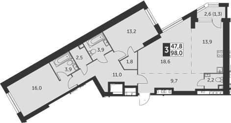 3-к.кв, 98 м²