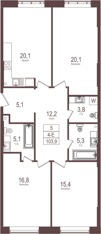 4-к.кв (евро), 103.9 м²