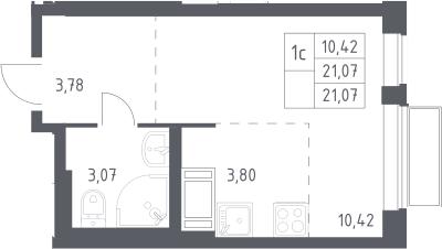 Студия, 21.07 м²