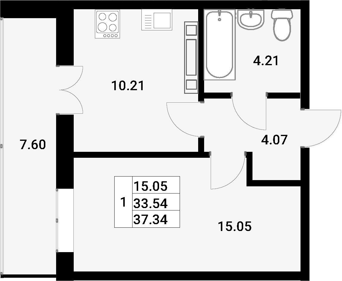 1-к.кв, 37.34 м², 9 этаж