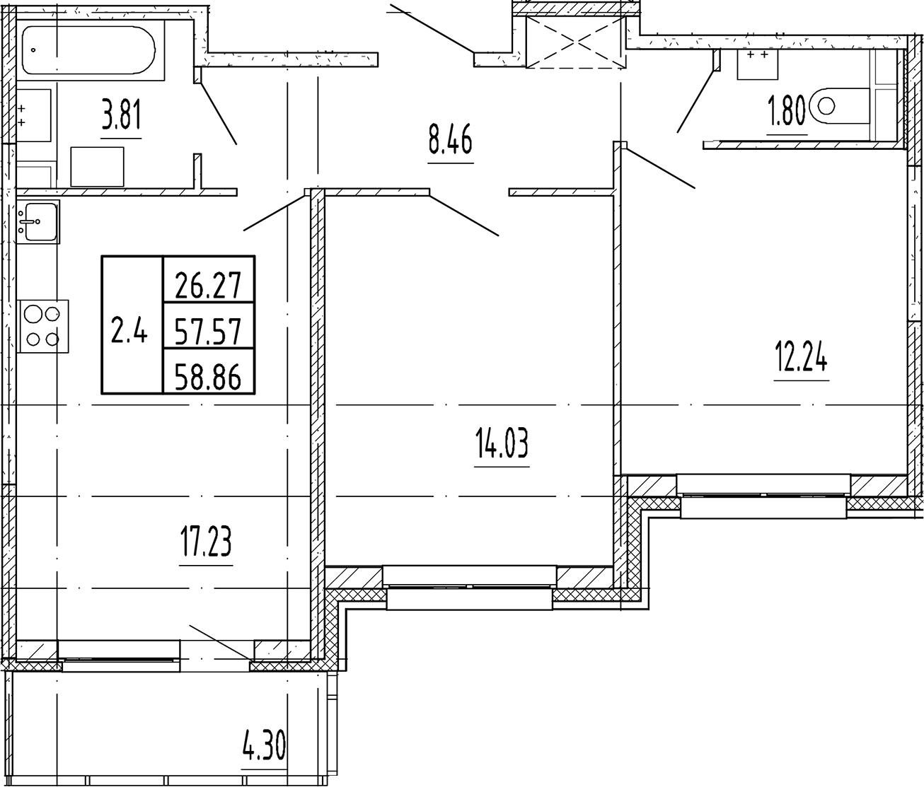 3Е-комнатная, 57.57 м²– 2