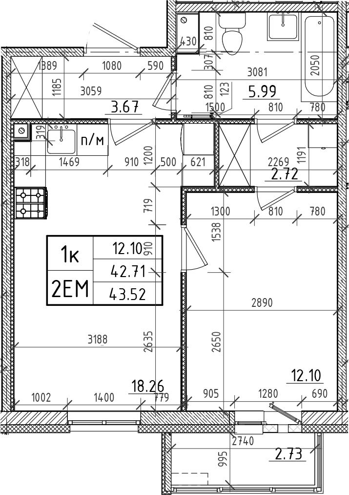 2Е-комнатная, 42.71 м²– 2