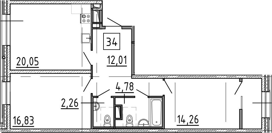 3-к.кв (евро), 73.91 м²
