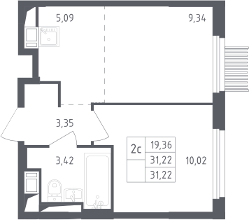 2Е-к.кв, 31.22 м², от 13 этажа