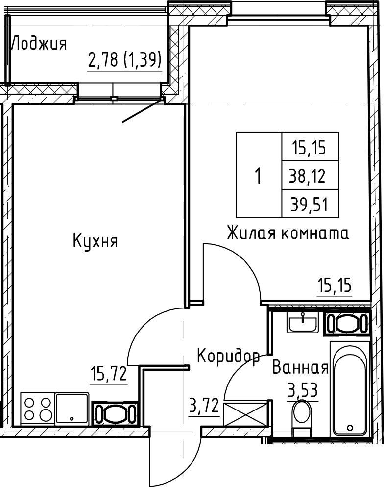 2Е-к.кв, 39.51 м², от 10 этажа