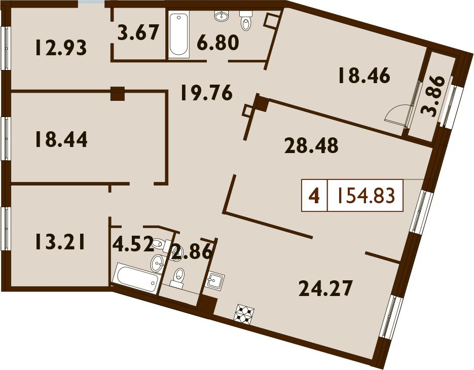 5Е-к.кв, 154.83 м²