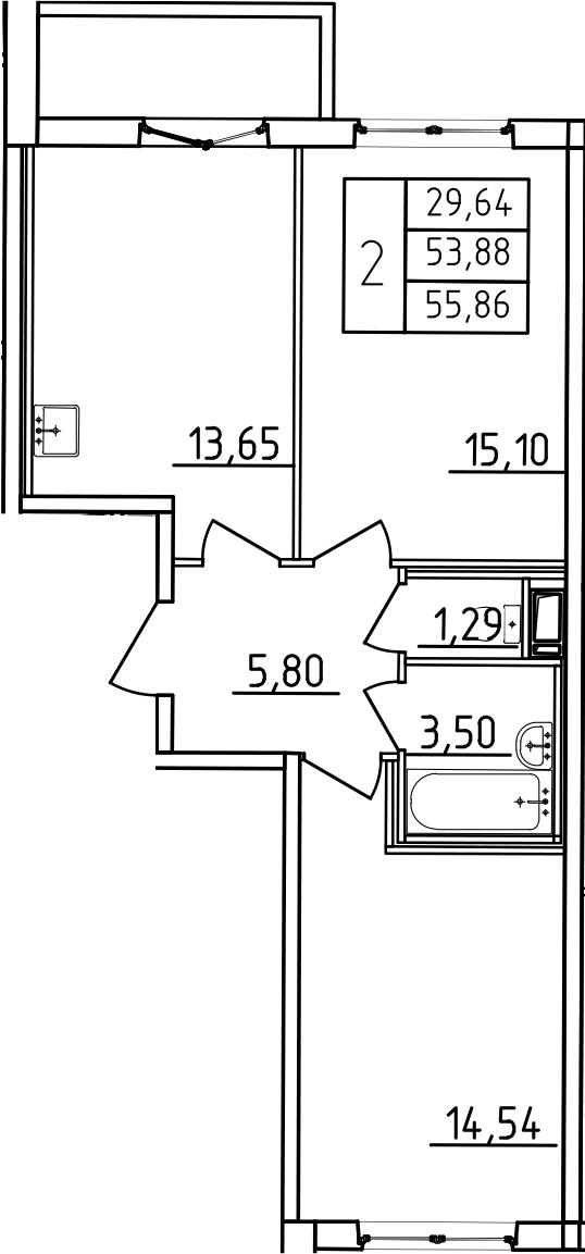 2-к.кв, 57.84 м²