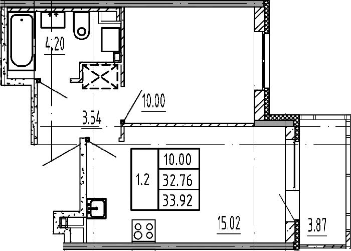 2Е-комнатная, 32.76 м²– 2