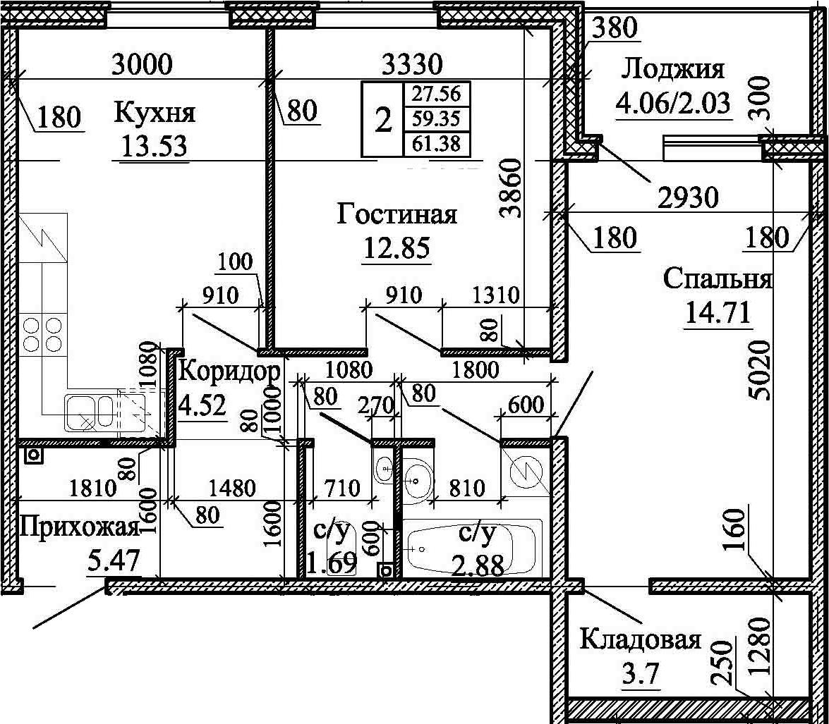 2-комнатная, 61.38 м²– 2