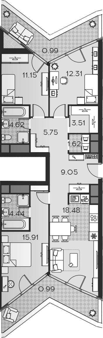 4Е-комнатная, 88.82 м²– 2
