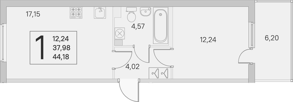 2Е-комнатная, 37.98 м²– 2