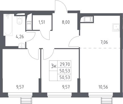 3-к.кв (евро), 50.53 м²
