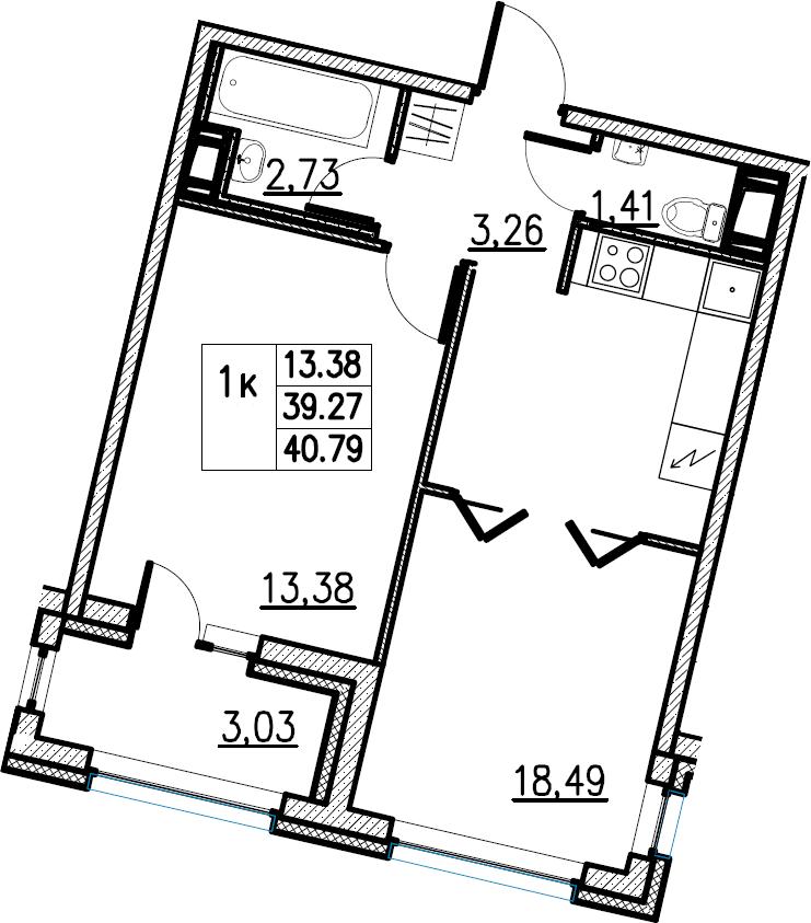 2Е-комнатная, 40.79 м²– 2