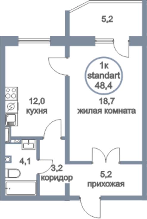 1-к.кв, 48.4 м²