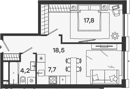 2-к.кв (евро), 48.2 м²