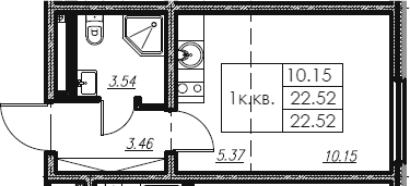 Студия, 22.52 м²