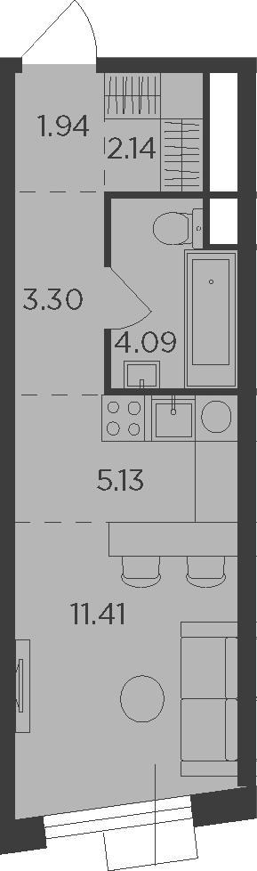Студия, 28.01 м²– 2
