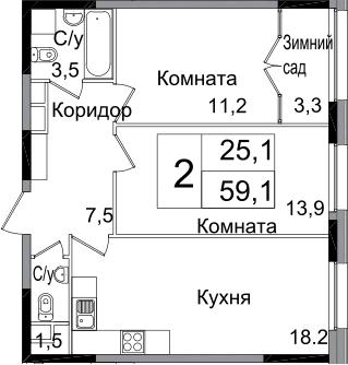 3-к.кв (евро), 63.6 м²